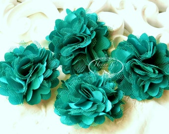 4 pcs - Peacock TEAL GREEN Tiny Size Petite Satin and Tulle Puff Mesh Flowers - wedding bridal bridesmaid brooch flowers