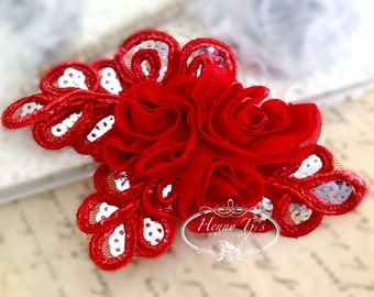 "NEW: ""RED"" Chiffon and Sequins Leaf Polyester Fabric Rose Appliques. Hair accessories"