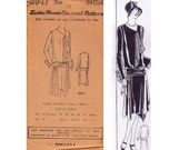 RARE 1920s Flapper Dress Pattern Handkerchief Hem Dropped Waist Sash Trim Ladies Home Journal 5947 Bust 36 inches UNUSED Factory Folded