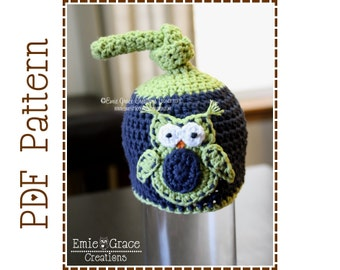 Top Knot Owl Hat Crochet Pattern, 8 Sizes from Newborn to Adult, OWL TOP KNOT - pdf 133