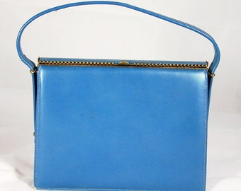 Vintage Small Blue Handbag Signed Andrew Geller