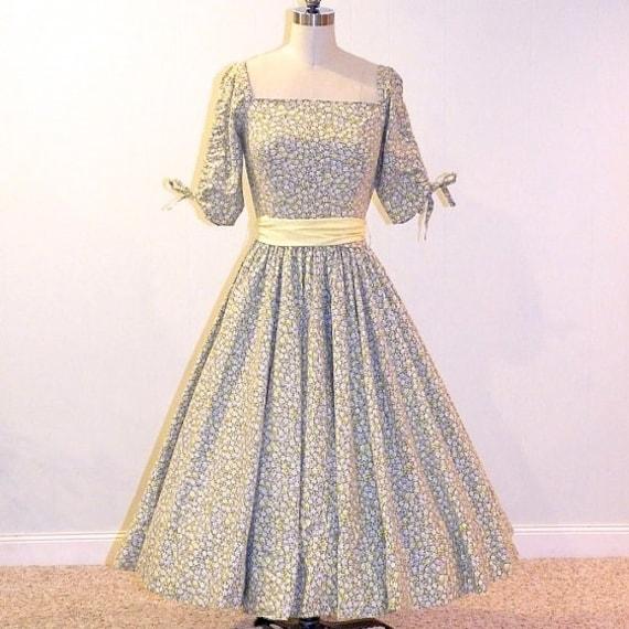 50s Floral Dress, 1950s Full Circle Skirt Dress, Yellow & Gray Garden Party Dress, Henry Rosenfeld, XS-S