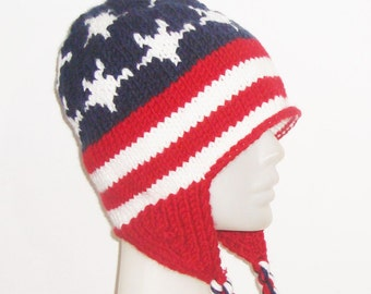 American Flag hat, US Flag hat, red white blue hat, womens hat, flag womens hat, knit hat, ear flap, winter hat, personalized hat