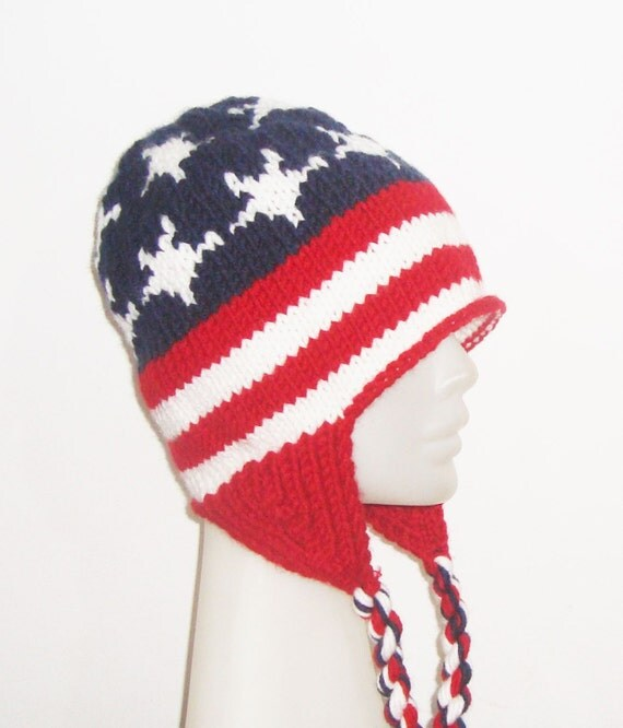 Patriotic American Flag Hat with earflap in Red, White & Blue, Womens Hat, hand knitted hat