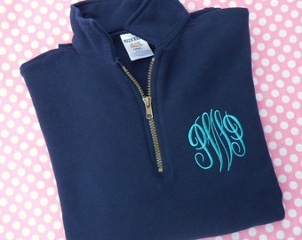 SALE... Monogrammed 1/4 Zip Sweatshirt with Small Collar.... INVENTORY CLEARANCE