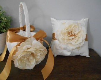 Flower Girl Basket and Ring Bearer Set of 2- Satin Ivory or White Ivory Ivory Rose Gold Ribbon You Customize
