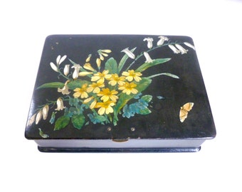 Vintage 1940's Asian Flower & Moth 2 Level Divided Trinket Jewelry Box