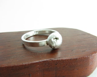 Sterling Silver Half Sphere Organic Crater Ring Geometric Modern Silver Jewelry Handmade Metal Ring Size 6.5