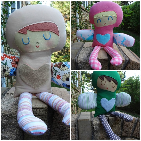 Love Fairy -custom made boy or girl rag doll  cloth doll gift for boy or girl