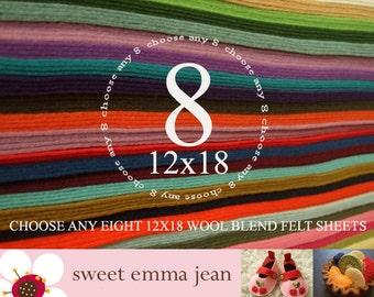 12x18 Wool Felt Sheets - Choose any EIGHT wool blend felt sheets