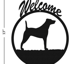 Dog Jack Russell Black Metal Welcome Sign