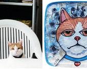 "Custom Handpainted 8"" x 8"" Ceramic Plate Featuring YOUR Pet!"