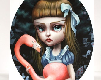 Alice and the Flamingo Croquet - Limited Edition Alice in Wonderland signed numbered 8x10 pop surrealism Fine Art Print by Mab Graves