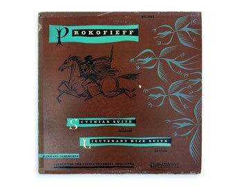 "Ronald Clyne record album design, 1951. ""Prokofieff: Scythian Suite; Lieutenant Kije Suite"" LP"