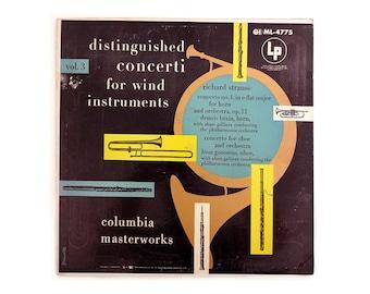 """Alex Steinweiss record album design, c.1955. """"Distinguished Concerti for Wind Instruments, Volume 3"""" LP"""