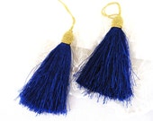 "Royal Blue Gold Large Thread Tassel, Thick Tassel Charm, Tassel Pendant, Silk Imitation, 80mm / 3,15"" - 1 piece"