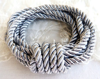 5mm Silver Grey Twisted Cord, Wrapped Thread Cord, Rope Cord- 2 Yards/ 1,84m approx.(1 piece)