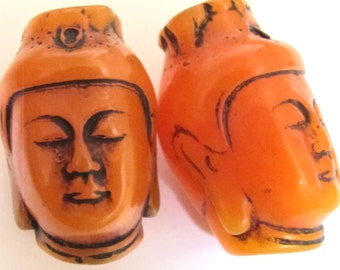 Large bold size Ethnic Tibetan Buddha face resin pendant mala focal bead - 1 Bead - BD561B