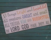 NEW All Things Bright and Beautiful Hymn Typography Word Art Sign for a Nursery or Playroom