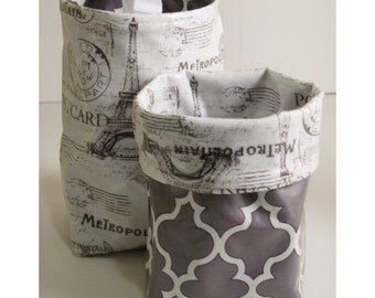 Wastebasket car trash can collapsible use anywhere crafting thread catcher laminated cotton waterproof WASTIE Parisian collage gray mosaic