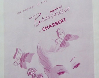 Charbert Perfume Ad, Magazine Print Page, 1942 Marshall Field Co. Perfume,  Neiman Marcus, Wall Decor,
