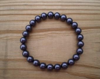 Swarovski Pearl Stretch Bracelet in Dark Purple