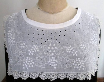 Vintage White Cotton Eyelet And Embroidery Collar White Lace Trim