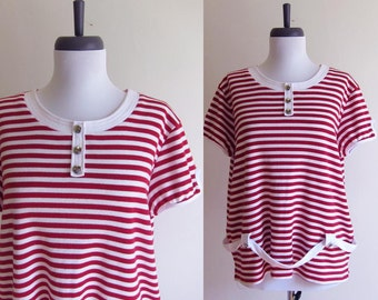Vintage 1990s T-Shirt / NAUTICAL Sailor Stripe TShirt Knit Blouse / Size Large or XL / Plus Size