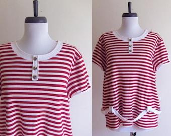 Vintage 1990s T-Shirt / NAUTICAL Sailor Stripe TShirt Knit Blouse / Size Large or XL / Plus Size