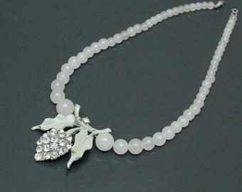 Mint Julip. Repurposed Vintage Rhinestone White Jade Necklace.
