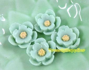 4pcs Little Cherry Blossom Cabochons - Aquamarine (076)