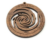 """Milky Way Galaxy Ornament Wood - Science and Astronomy . Stephen Hawking Quote """"To confine our attention to terrestrial matters would be..."""""""