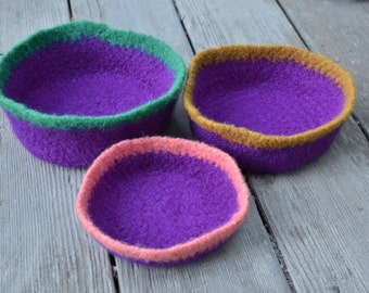 Purple Felted Nesting Bowl Set