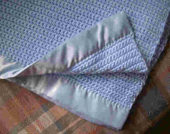 Crocheted Baby Blanket - Powder Blue with Sating Binding - Warm & Soft - Crochet Knit - Ready To Ship - Item no. PB2PB