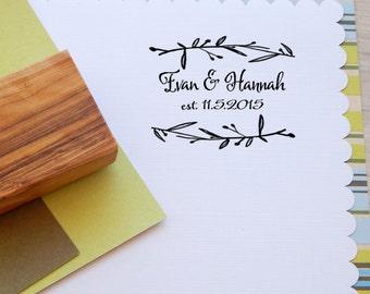 Custom Mediterranean Olive Wedding Stamp on Olive Wood