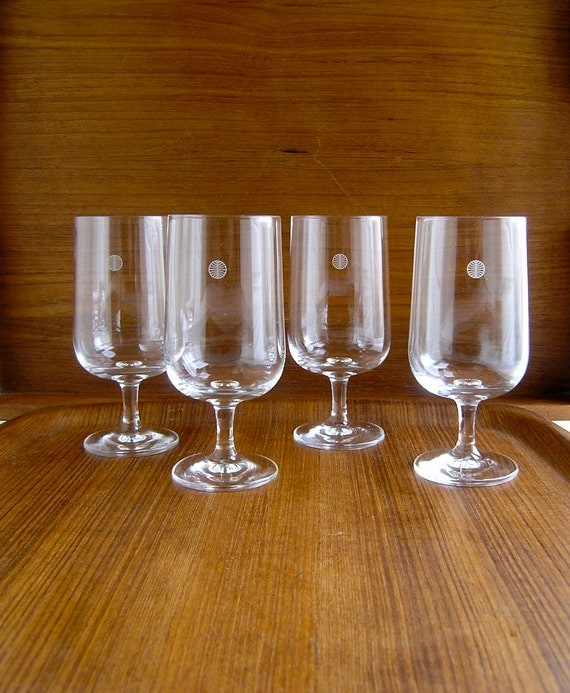 1960 S Pan Am Airlines Wine Glasses Set 4 First Class