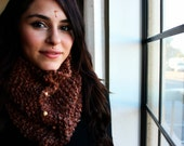 Deep brown cowl with wooden bead accents