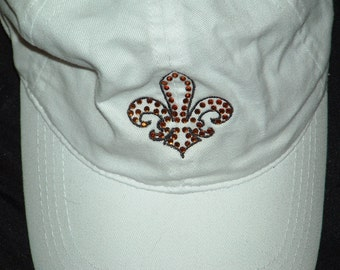 Embroidery and Rhinestone Ponytail Cap