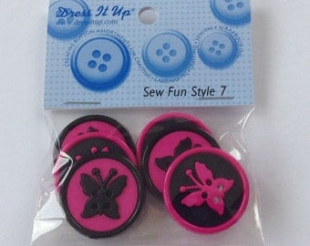"""Dress it up spring buttons - chunky black/ hot pink butterfly design - 4 holes 1"""" (2.5cm)"""