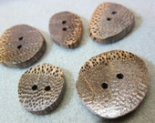 Black Palm, exotic wood Buttons 5 small - medium matching natural grains design Handmade USA