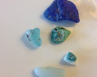 lot of Blue SEA GLASS fused melted pieces