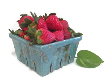 Berry Bowl in Teal Blue - Hand Painted Ceramic Berry Basket