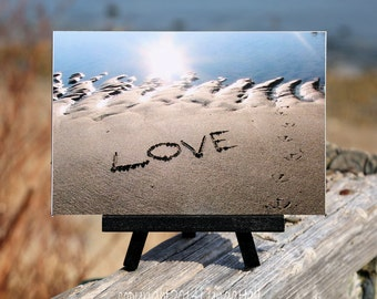 Romantic Sentiment LOVE Beach Theme Photo on Small Black Wood Easel, beach writing, unique gift for girlfriend, coastal décor, word art