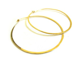 SALE Skinny Gold Hammered Hoops 2.5 Inch