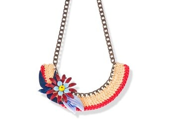 Designer Statement necklace bib crocheted jewelry Red and Blue Swallow Bird