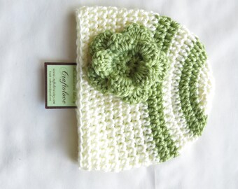 Crochet baby hat- Baby Girl Hat - Baby Girl Beanie - Off-white/Pistachio green baby girl stripe hat with flower - Newborn Photography props