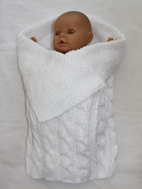Knitting Pattern Baby Bunting : baby KNITTING PATTERN Swaddle Me Baby Bunting by ...