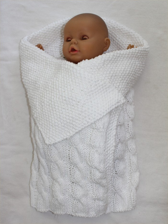 Knitting Pattern Swaddling Blanket : baby KNITTING PATTERN Swaddle Me Baby Bunting Blanket PDF