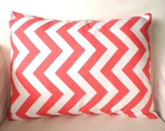 Coral Chevron Lumbar Throw Pillow Cover, Decorative Pillow, Cushion, Coral White Chevron Zig Zag, Pillows for Couch Chair 12 x 16 or 12 x 18