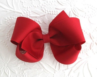 "Valentine's Day Hair Bow, 4"" Red Boutique Hair Bow, Toddler Bows, Classic Red Hair Bow for Girls"